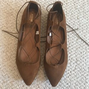 Brown Pointed Lace Up Flats
